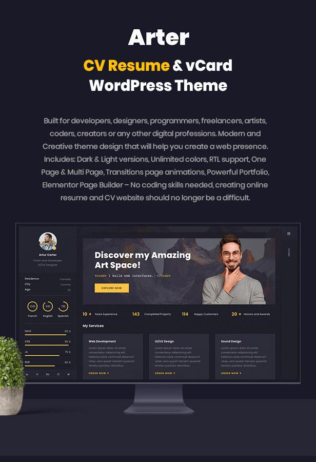 Resume CV & vCard WordPress Theme