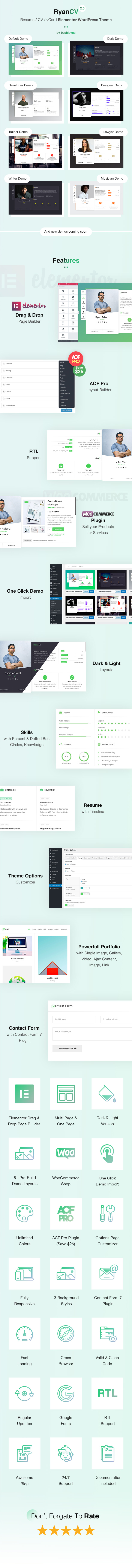 Resume / CV / vCard WordPress Theme